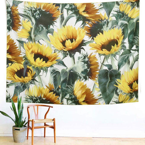 Image of ARFBEAR Sunflower Tapestry, Forever Wall Hanging Warm Golden Yellow and Green Wall and Home Decor 59x51 Inches (Medium) - zingydecor
