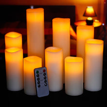 "Load image into Gallery viewer, Ry-king 4"" 5"" 6"" 7"" 8"" 9"" Pillar Flickering Flameless LED Candles with 10-key Remote Timer, Set of 9 - zingydecor"