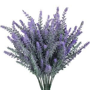 Gtidea 4pcs Artificial Flocked Lavender Bouquet in Purple Flowers Arrangements Bridal Home DIY Floor Garden Office Wedding Decor - zingydecor