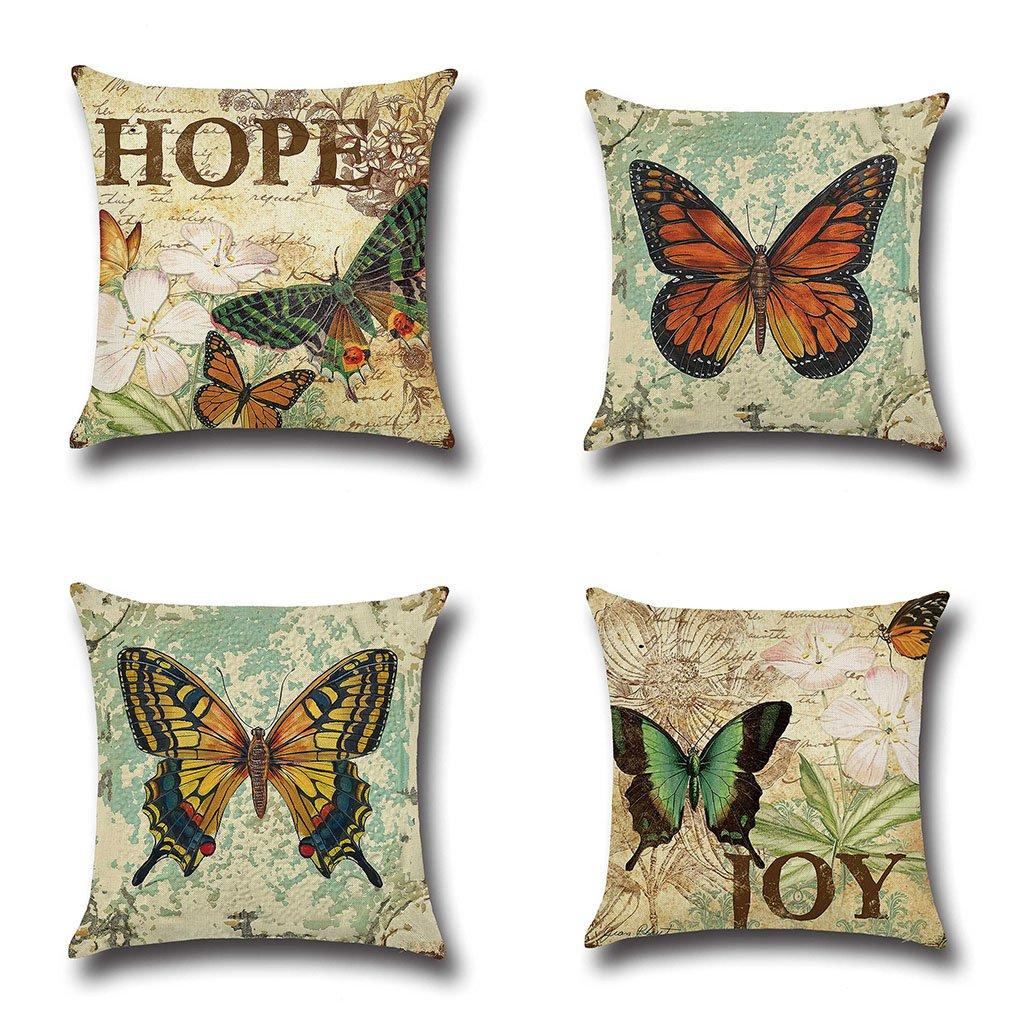 MFGNEH 4 Pack Vintage Style Home Decor Cotton Linen Butterfly Pattern Throw Pillow Covers 18x18 - zingydecor