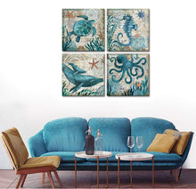 Bathroom Home Decor Turtle Canvas Wall Art Octopus Seahorse Dolphin Beach Posters Decorations Set for Kitchen Teal Ocean Animal Paintings Artwork Pictures Stretched and Framed 12 x 12 Inch x 4 Pcs - zingydecor