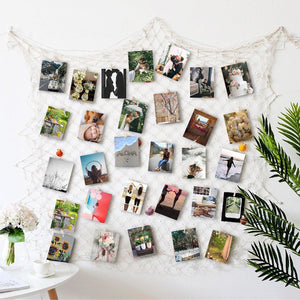 Photo Hanging display with 40 Clip by HAYATA - Fishing Net Wall Decor - Collage Artworks & Multi Pictures Organizer & Photo Frames - Nautical Vintage Decorative Bedroom Christmas Decorations - zingydecor