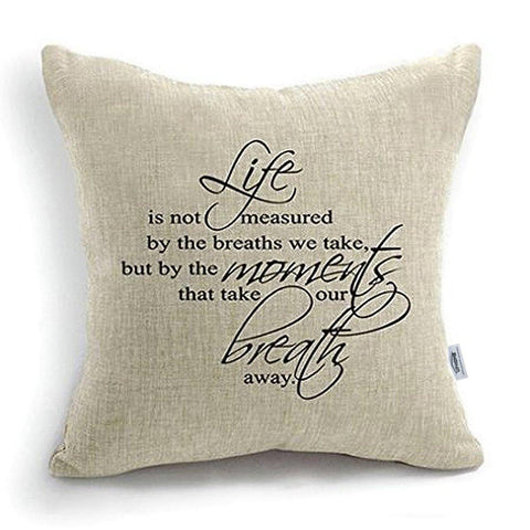 CoolDream 18 Inch Quote Words Square Decorative Cotton Linen Cushion Cover Throw Pillowcase
