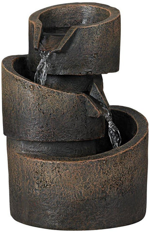 "Image of 3-Tier Bronze Stone Contemporary 9 3/4""H Tabletop Fountain - zingydecor"