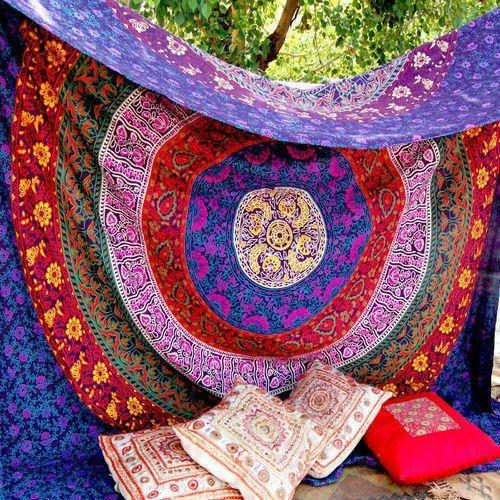 Marubhumi Hippy Mandala Bohemian Tapestries, Indian Dorm Decor, Psychedelic Tapestry Wall Hanging Ethnic Decorative Tapestry (85 x 55 Inches, Purple Multi) - zingydecor