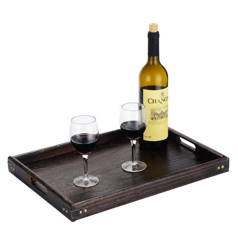 Image of JPCRAFT Simply Espresso Brown Rectangle Wooden Serving Tray, 17 by 12-Inch