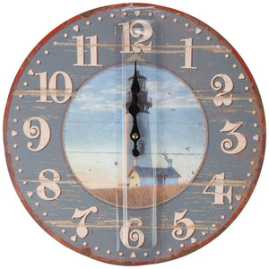"Lily's Home Rustic Wood-Style Country Lighthouse Wall Clock, Fits Nautical or Country Décor, Battery-Powered with Quartz Movement, Ideal Gift for Lighthouse Fans (13"" Diameter) - zingydecor"