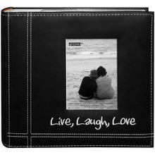 "Load image into Gallery viewer, Pioneer Photo Albums Embroidered Live, Laugh, Love Black Sewn Leatherette Frame Cover Album for 4""x6"" Prints - zingydecor"