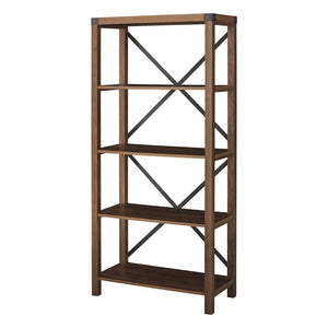"WE Furniture Farmhouse 4-Shelf Bookcase with Open Storage, 64"" H, Dark Walnut - zingydecor"
