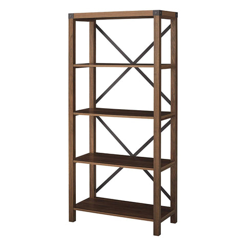 "Image of WE Furniture Farmhouse 4-Shelf Bookcase with Open Storage, 64"" H, Dark Walnut"