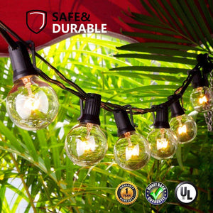 Guddl Globe String Lights with 27 Clear G40 Bulbs, Connectable Outdoor /Indoor Lights for Wedding Christmas Camping RV Garden Patio Gazebo Porch Pergola Bistro Backyard Balcony Deck, 25ft Black Wire - zingydecor