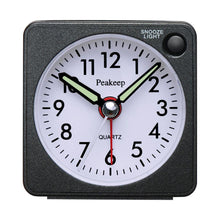 Load image into Gallery viewer, Ultra Small, Peakeep Battery Travel Alarm Clock with Snooze and Light, Silent with No Ticking Analog Quartz