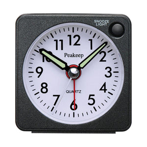 Ultra Small, Peakeep Battery Travel Alarm Clock with Snooze and Light, Silent with No Ticking Analog Quartz