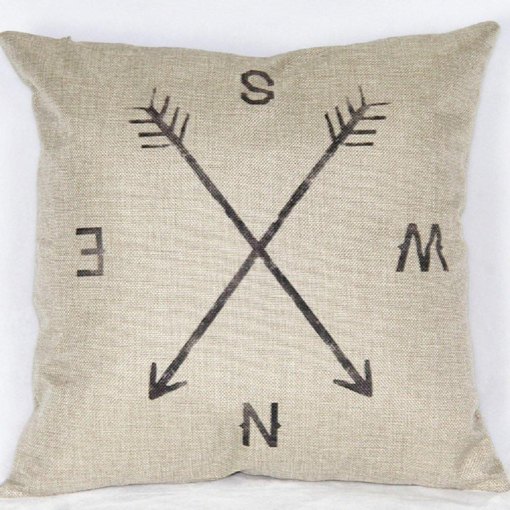"18"" X 18"" Cotton Linen Square Throw Pillow Case Compass Decorative Sofa Cushion Cover"