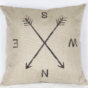 "18"" X 18"" Cotton Linen Square Throw Pillow Case Compass Decorative Sofa Cushion Cover - zingydecor"