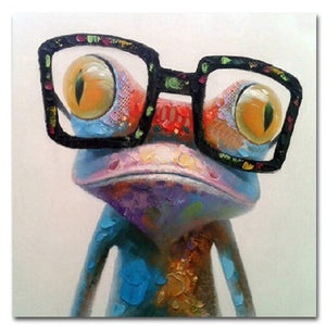 Muzagroo Art Oil Painting Hand Painted on Canvas Cute Frog with Glasses Pictures for Wall (16x16 Inch, Happy Frog) - zingydecor