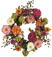Nearly Natural 4664 Peony Wreath, 24-Inch, Mixed