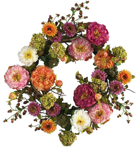 Image of Nearly Natural 4664 Peony Wreath, 24-Inch, Mixed