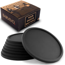 Load image into Gallery viewer, Drink Coasters by Barvivo Set of 8 - Tabletop Protection For Any Table Type, Wood, Granite, Glass, Soapstone, Sandstone, Marble, Stone Tables - Perfect Soft Coaster Fits Any Size of Drinking Glasses. - zingydecor