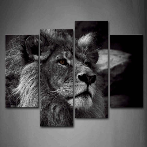 Image of Black And White Gray Lion Head Portrait Wall Art Painting Pictures Print On Canvas Animal The Picture For Home Modern Decoration - zingydecor