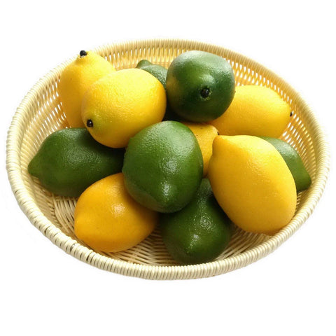 Image of Gresorth 12pcs Yellow & Green Artificial Lifelike Simulation Lemon Fake Fruit Home Kitchen Cabinet Decoration