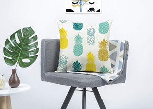 "Pineapples Throw Pillow Cover Summer Beach Decor Cushion Case Decorative for Sofa Couch 18"" x 18"" Inch Cotton Linen (Blue Yellow )"