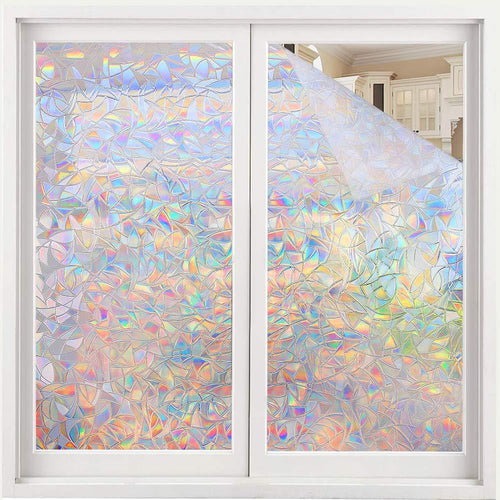 Volcanics Window Privacy Film Static Window Clings Vinyl 3D Window Decals Window Stickers Rainbow Window Film for Glass Door Home Heat Control Anti UV 17.5 x 78.7 Inches - zingydecor