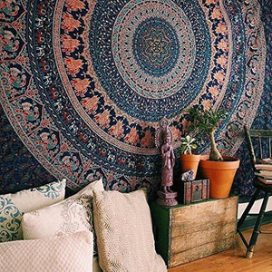 Hippie Tapestry, Hippy Mandala Bohemian Tapestries, Indian Dorm Decor, Psychedelic Tapestry Wall Hanging Ethnic Decorative Tapestry, 210 x 230 cm (Queen) - zingydecor