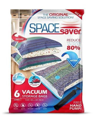 Image of SpaceSaver PremiumJUMBO Vacuum Storage Bags (Works With Any Vacuum Cleaner + FREE Hand-Pump for Travel!) Double-Zip Seal and Triple Seal Turbo-Valve for 80% More Compression! (6 Pack)