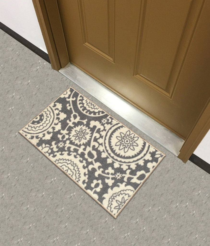 "Rubber Backed Mat 18"" x 32"" Floral Swirl Medallion Grey & Ivory Doormat Accent Non-Slip Rug - Rana Collection Kitchen Dining Living Hallway Bathroom Pet Entry Rugs RAN2033-12 - zingydecor"