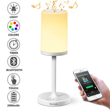 Load image into Gallery viewer, Marrado Bluetooth Speakers + Bedside Lamp, Night Light, Smart Touch Control Table Lamp for Bedroom Living Room, Portable Rechargeable LED Desk Lamp, Dimmable Warm White & Color Changing