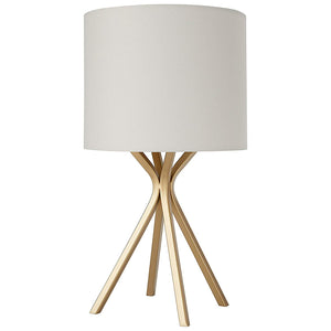 Rivet Gold Bedside Table Desk Lamp with Light Bulb - 18 Inches, Linen Shade