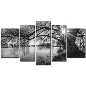 5 Pieces Modern Canvas Painting Wall Art The Picture For Home Decoration Black And White Tree Silhouette In Sunrise Time Lake Landscape Print On Canvas Giclee Artwork For Wall Decor - zingydecor