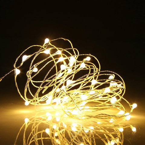 Image of Ehome 100 LED 33ft/10m Starry Fairy String Light, Waterproof Decorative Copper Wire Lights for Indoor Outdoor, Bedroom Festival Christmas Wedding Party Patio Window with USB Interface (Warm white)