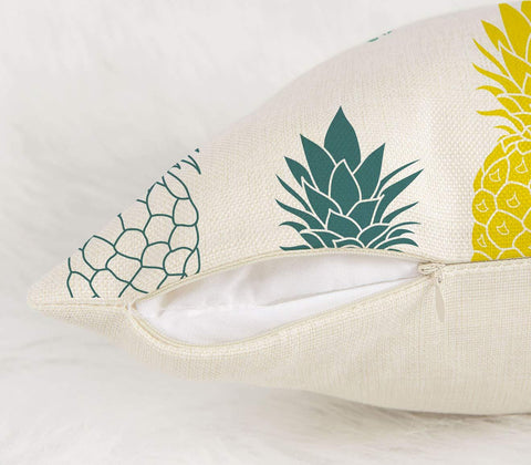 "Image of Pineapples Throw Pillow Cover Summer Beach Decor Cushion Case Decorative for Sofa Couch 18"" x 18"" Inch Cotton Linen (Blue Yellow )"