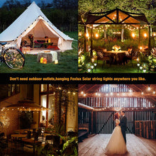 Load image into Gallery viewer, FOXLUX Solar String Lights - 48 ft LED Outdoor String Lights - Shatterproof, Waterproof Pergola Lights - 15 Hanging Sockets, Light Sensor, S14 Edison Bulbs - Decor for Patio, Backyard, Garden, Bistro - zingydecor