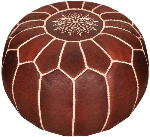 Moroccan Leather Pouf - Handmade Leather Pouffe - Luxury Dark Brown Pouf - Ottoman Footstool Hassock - 100% Real Natural Goat Leather - Unstuffed