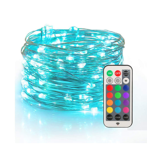 YIHONG Fairy String Lights USB Powered - 33ft Long Twinkle Lights - Color Change Firefly Lights with RF Remote - 13 Vibrant Colors - Fade Flash Strobe Modes - zingydecor