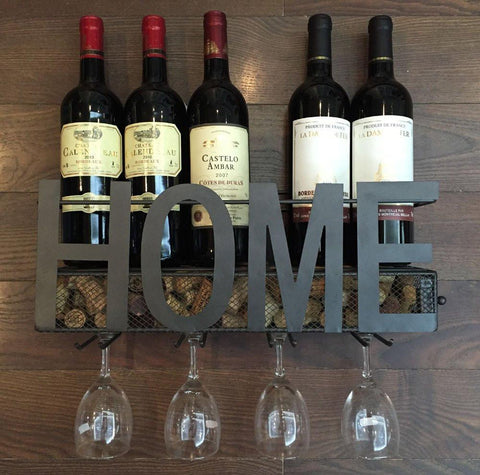 Image of Wall Mounted Metal Wine Rack 4 Long Stem Glass holder & Wine Cork Storage By Soduku