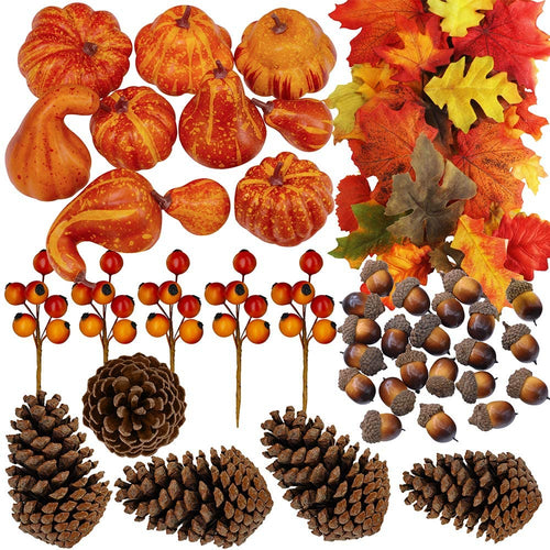 110 Pcs Artificial Fall Gourds, Mini Pumpkins, Pine Cones, Leaves, Acorns and Berries