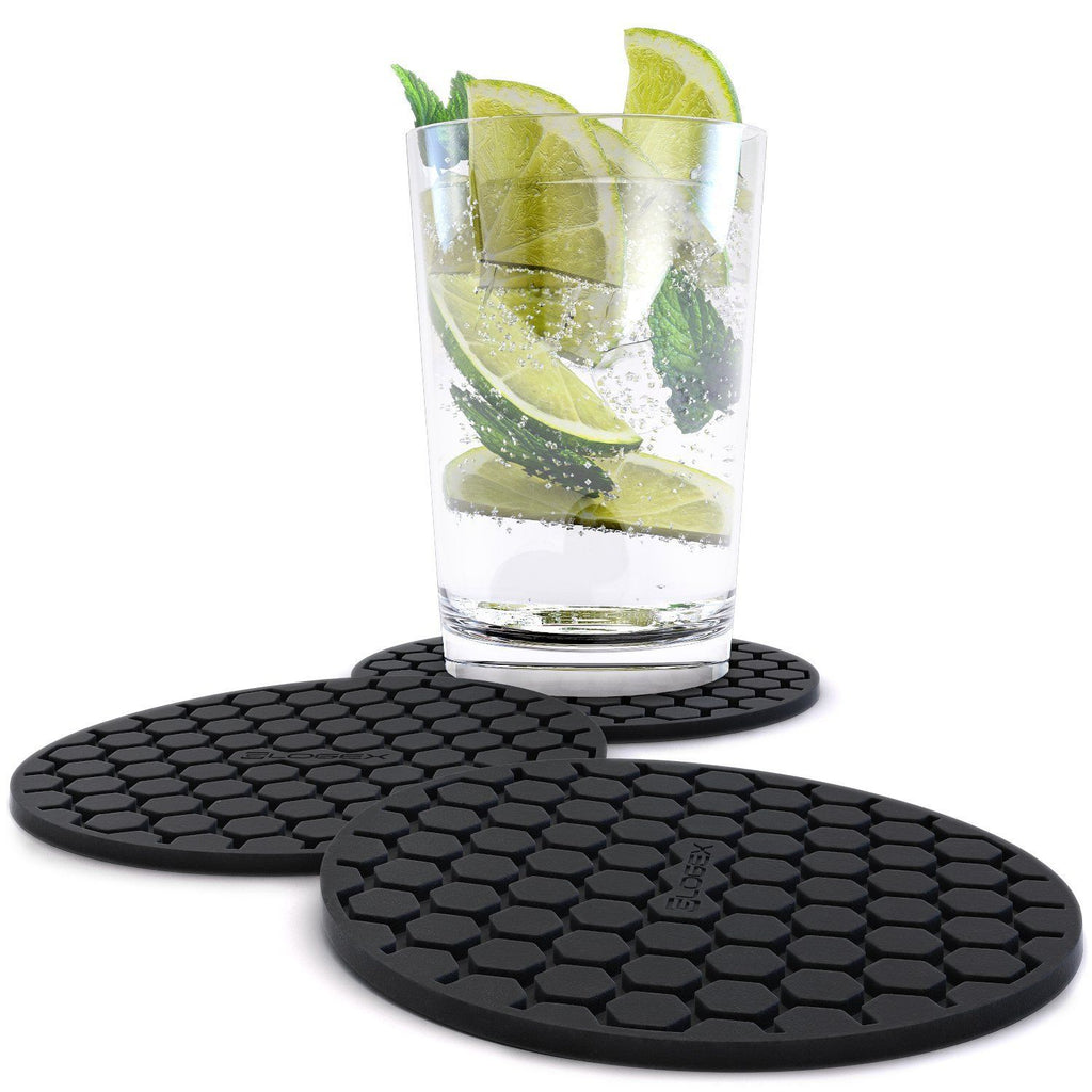 Amazing Quality Drink Coaster Set (8pc), Sleek Modern Design. Prevents Furniture Damage, Absorbs Spills and Condensation! Top Grade Silicone Ð