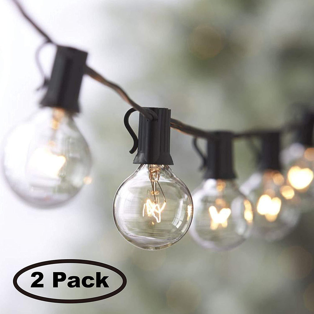 Lemontec String Lights,25FT Vintage Backyard Patio Lights with 25 Clear Globe Bulbs-UL listed for Indoor/Outdoor Use, Globe Wedding Light, Deckyard Tents Market Cafe Porch Party (2 Pack 50 Bulbs 50FT) - zingydecor
