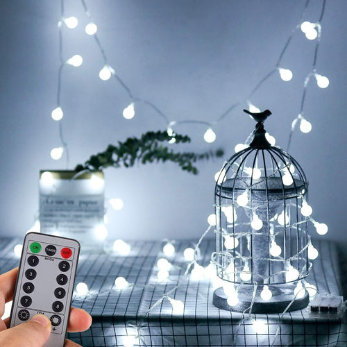 WERTIOO 33ft 100 LEDs Battery Operated String Lights Globe Fairy Lights with Remote Control for Outdoor/Indoor Bedroom,Garden,Christmas Tree[8 Modes,Timer ] (Warm White) - zingydecor