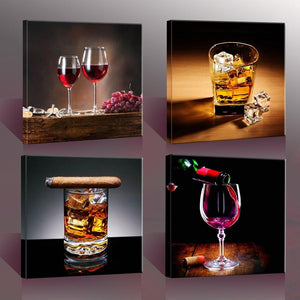 "Home Decor Canvas Wall Art -4 Panels Canvas Prints Wine Pictures "" Wine & Whisky"" Framed Wine Wall Art for Home Decorations - zingydecor"