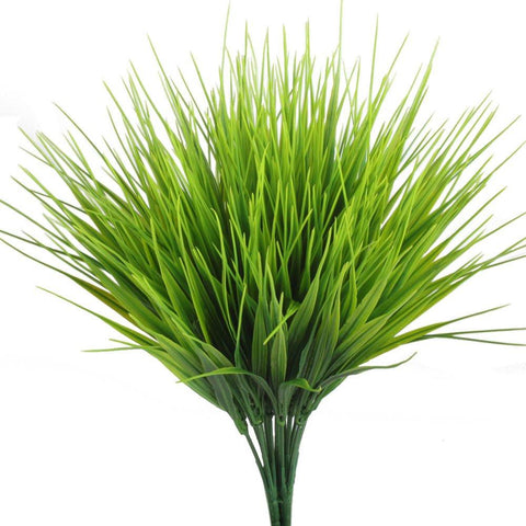 Image of Artificial Plants, Hogado 4pcs Faux Plastic Wheat Grass Fake Leaves Shrubs Simulation Greenery Bushes Indoor Outside Home Garden Office Verandah Wedding Decor - zingydecor
