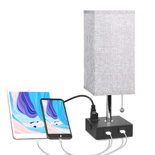 Load image into Gallery viewer, Bedside Table Lamp, Aooshine Minimalist Solid Wood Table Lamp Bedside Desk Lamp With Square Flaxen Fabric Shade for Bedroom, Dresser, Living Room, Kids Room, College Dorm, Coffee Table, Bookcase - zingydecor