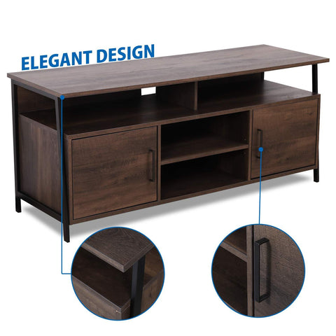 "Image of Sekey Home 58"" Entertainment Center Wood Media TV Stand 