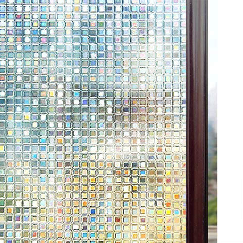 3D Decorative Window Film, Non-Adhesive Privacy Films - Frosted Window Glass Film for Home Office, Removable Rainbow Window Tint Film, Mosaic Patterns, 17.5 x 78.7 inches - zingydecor