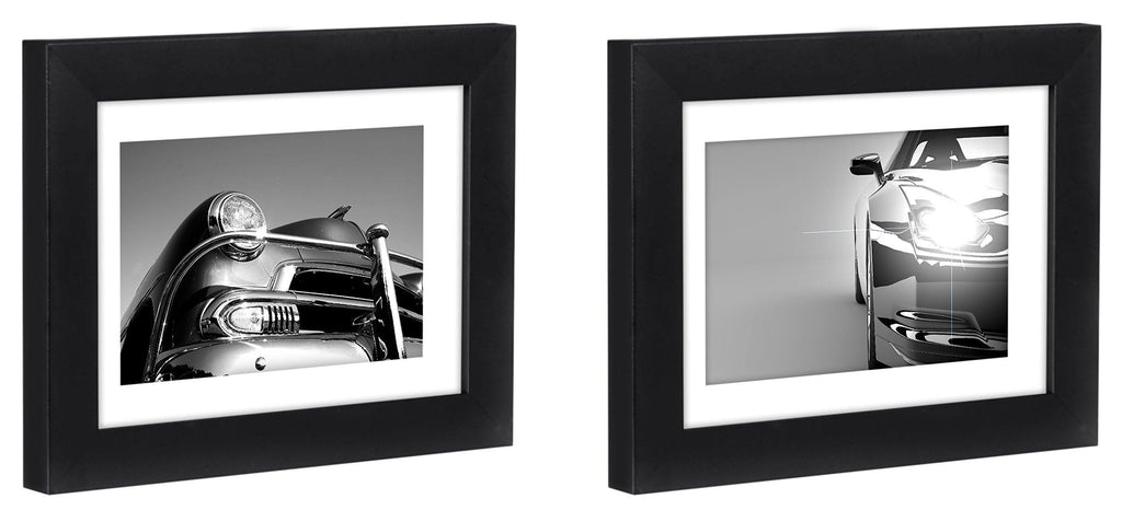 Two Tabletop Frames Made to Display Pictures Sized 4x6 inches with Mat and 5x7 inches without Mat – Glass Front, Easel Stand, Ready to Display on Desktop and Table Top
