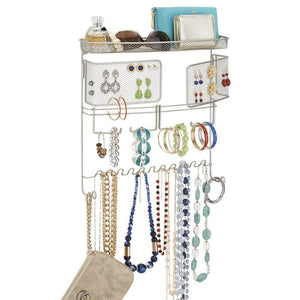 mDesign Hanging Fashion Jewelry Organizer for Rings, Earrings, Bracelets, Necklaces - Wall Mount - zingydecor
